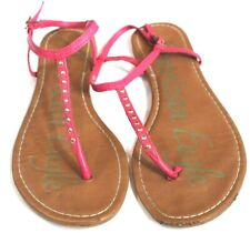 American Eagle womens size 7 pink sandals leather with studs t-strap ankle strap