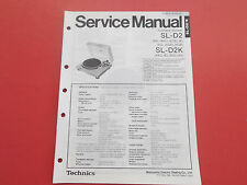 Technics sl-d2 sl-d2k turntable org. Service instrucciones manual