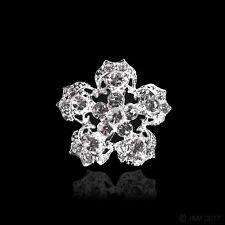 1 Silver Flower Diamante Wedding Bridal Brooch Craft Pin (3.2cm x 3.2cm)