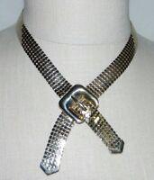 VTG CORO Gold Tone Metal Mesh Belt Choker Necklace