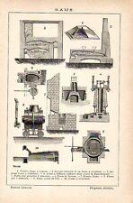 Stampa antica FORNI FUSIONE LAVORAZIONE del RAME 1910 Old print