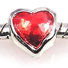 Wholesale 20pcs Red Heart Silver Enamel European Bracelet Spacer Charm Bead D122