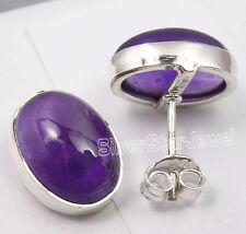 """Purple Amethyst New Jewelry 0.6"""" Studs Earrings, 925 Sterling Silver Cabochon"""