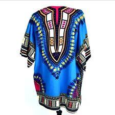 Vtg Boho Tunic Dashiki Tribal Blue Unisex Top Size 2X