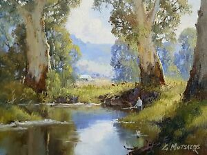 Fishing On The River - Gerard Mutsaers  Canvas Prints Framed & Ready to Hang