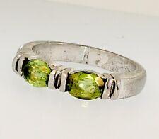 Stackable 925 Sterling Silver DOUBLE OVAL GEMSTONE Women Ring In Sz 5.75