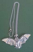 pewter pendant, bat design, hand made in Cornwall with surgical steel chain