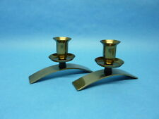 Vintage Mid-Century Modern Style Brass And Wood Candle Holders Set Unique Design