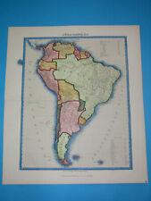 1872 ORIGINAL MAP PATAGONIA ARGENTINA CHILE PERU BOLIVIA GUYANA COLOMBIA ECUADOR