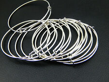 New LOT 5 BULK 50 pcs Expandable Silver Bangle Bracelet Wire Wrapped Adjustable