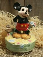 Vintage Walt Disney's Mickey Ceramic Schmid Music Box Figurine Japan