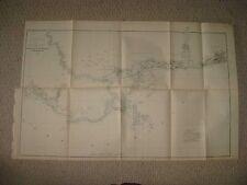 HUGE SUPERB ANTIQUE 1891 FLORIDA ALABAMA MISSISSIPPI LOUISIANA COAST SURVEY MAP