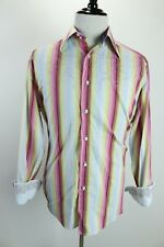 Robert Graham Colorful Striped Embroidered Floral Flip Cuff Button Shirt Mens L
