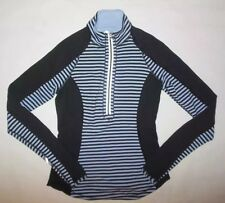 LULULEMON U TURN PULLOVER HALF ZIP TOP POLAR HAZE BLACK CLASSIC STRIPE EUC sz 4