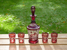 Ruby Red Bohemian Cut Art Glass Overlay Decanter w/ Shot Glasses Set of 4