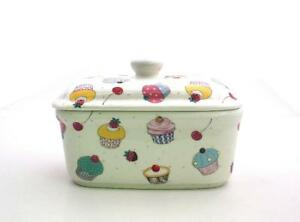 CUPCAKES  BUTTER DISH  FINE CHINA