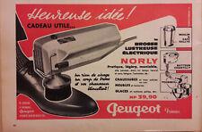 Publicité Brosse lustreuse électrique NORLY Peugeot  Frères 17 x 25 cm 1962