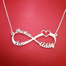 Personalized Heart Infinity Necklace, Custom 3 Name Necklace, Love neckless