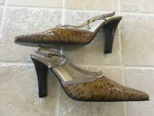 WOMENS LEWRE HAUTE COUTURE HIGH HEEL SHOES, SIZE 38, BROWN SLING BACKS  LEATHER