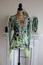 Roberto Cavalli Green & Black Wrap 100% Silk Top Tied Medium 12 Lace Sleeves M !