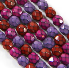 30 Round Snake Beads, 6mm, Berry Mix, Fire Polished Finish, Accent Beads, 30 Pcs