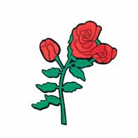 Ugly Rose Flower (Iron On) Embroidery Applique Patch Sew Iron Badge