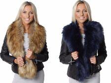 BIKER PVC JACKET FAUX FUR Collar Leather EFFECT Ladies Short Coat 8 to 24
