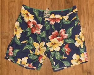 Polo Ralph Lauren Men 34 Swim Trunks Board Shorts Blue Floral Vintage Aloha
