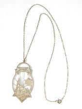 "Vtg Sterling Silver Pendant Medallion Necklace ""Vergass dei Hamit net"" Germany"