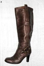 BALLY  bottes zippées cuir grainé marron irisé P 38 TBE