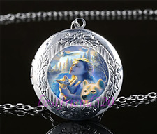 Wolf & Girl Cabochon Glass Tibet Silver Chain Locket Pendant Necklace#A1
