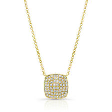 14K Yellow Gold Diamond Square Pendant Necklace Round Cut Womens Natural 0.43 CT