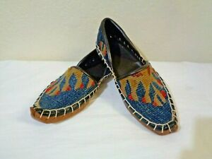 VINTAGE MOROCCAN/TURKISH BLUE/TAN WOOL KILIM TAPESTRY LEATHER SOLE SHOES 5/XS