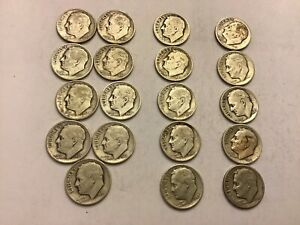 Silver Roosevelt Dimes - 1940's - Lot Of 19 - VG To F