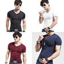 HK- Men's High Elastic Tight T-shirt V-neck Shirt Short Sleeve Tops Gratifying