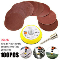 100pcs 80-3000 Grit 2Inch Sander Sanding Discs Pads Hook & Loop Sandpaper Set
