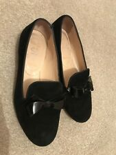be74567e078f christian louboutin Black Suede Flat Bow Loafers Size 35.5