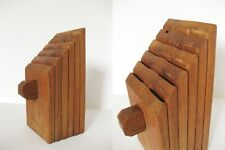 Vintage DANSK Slanted Wood Knife Block Mid Century MCM 10 knives