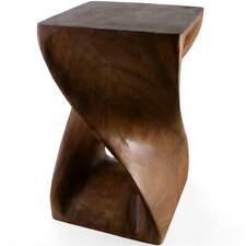 New Hand Carved Acacia Wood Honey Twist Table Side Wooden Stool Lamp Plant Stand