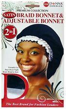 Donna Collection 2 in 1 Satin Braid Bonnet - Adjustable Bonnet, Black 1 ea