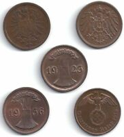 5 DIFF RARE LG BRONZE GERMAN 2 PFENNIG COINS! COMPLETE SET ALL TYPES INCL NAZI!!