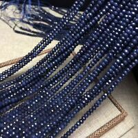 "2x4mm Natural Faceted Dark Blue Sapphire Rondelle Gemstone Loose Beads 15"" AAA"