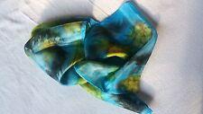 Soie (100%) Long écharpe bleu/jaune/noir DESIGN unique-peinte à la main Beau Cadeau
