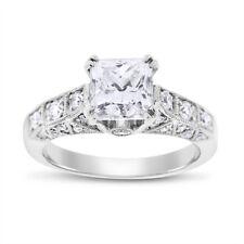 2.46 Carat Natural Diamond Princess Cut Unique Engagement Ring 18k White Gold