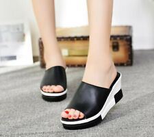 Womens Summer Wedge heels Sandals Patent Leather Slippers Casual Street Loafer
