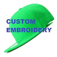 Create Your Custom Personalised Embroidery Green FLAT Brim SNAPBACK Cap Hat