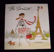 "Refrigerator Magnet ""The Tourist"" Girl and dog in Paris Eiffel Tower"
