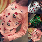 Women Long Sleeve Autumn Shirt Cute Owl Print Slim Casual T-Shirt Blouse Tops