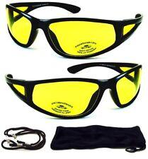 Black HD Aviator Sunglasses Driver Night Vision Driving Glasses Yellow Lens NEW