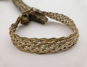 """925 Sterling Silver Braided Twist Woven Multi-Link Chain Bracelet 7"""""""